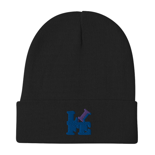 """""""LIFE"""" Blue Embroidered Beanie"""