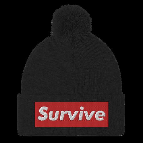 """""""Survive"""" Embroidered Pom-Pom Beanie"""
