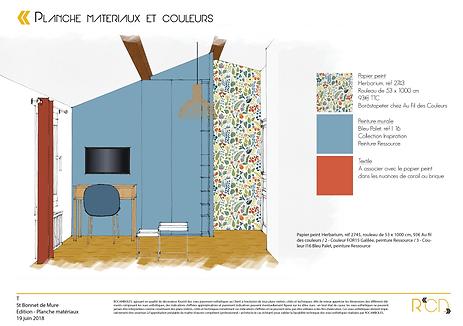 Planche matériaux et couleurs chambre d'amis