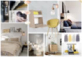 Planche ambiance pour une chambre cosy