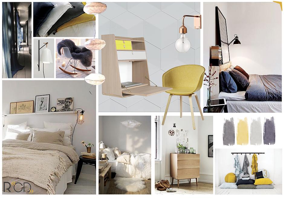 """Planche ambiance """"Chambre cosy"""" par Rocamboles / Christel Duperray décoratrice d'intérieur"""