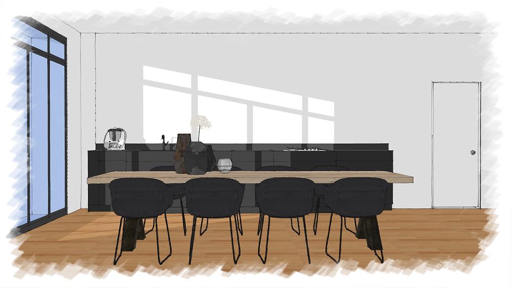 Avant: le dessin d'une cuisine à décorer par Rocamboles