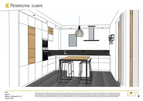 Perspective cuisine appartement Lyon 6