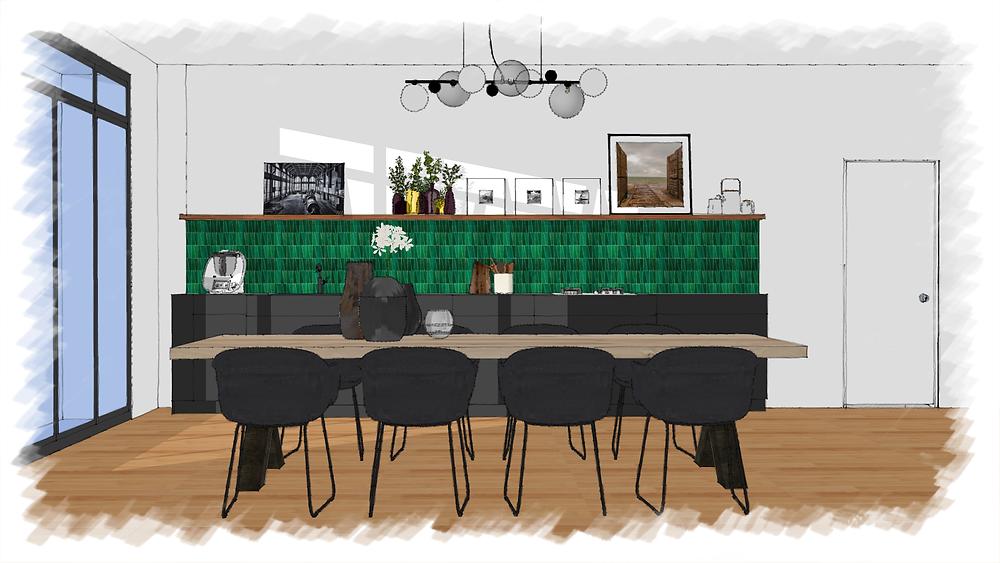 Perspective 3D de la cuisine avec son traitement décoratif