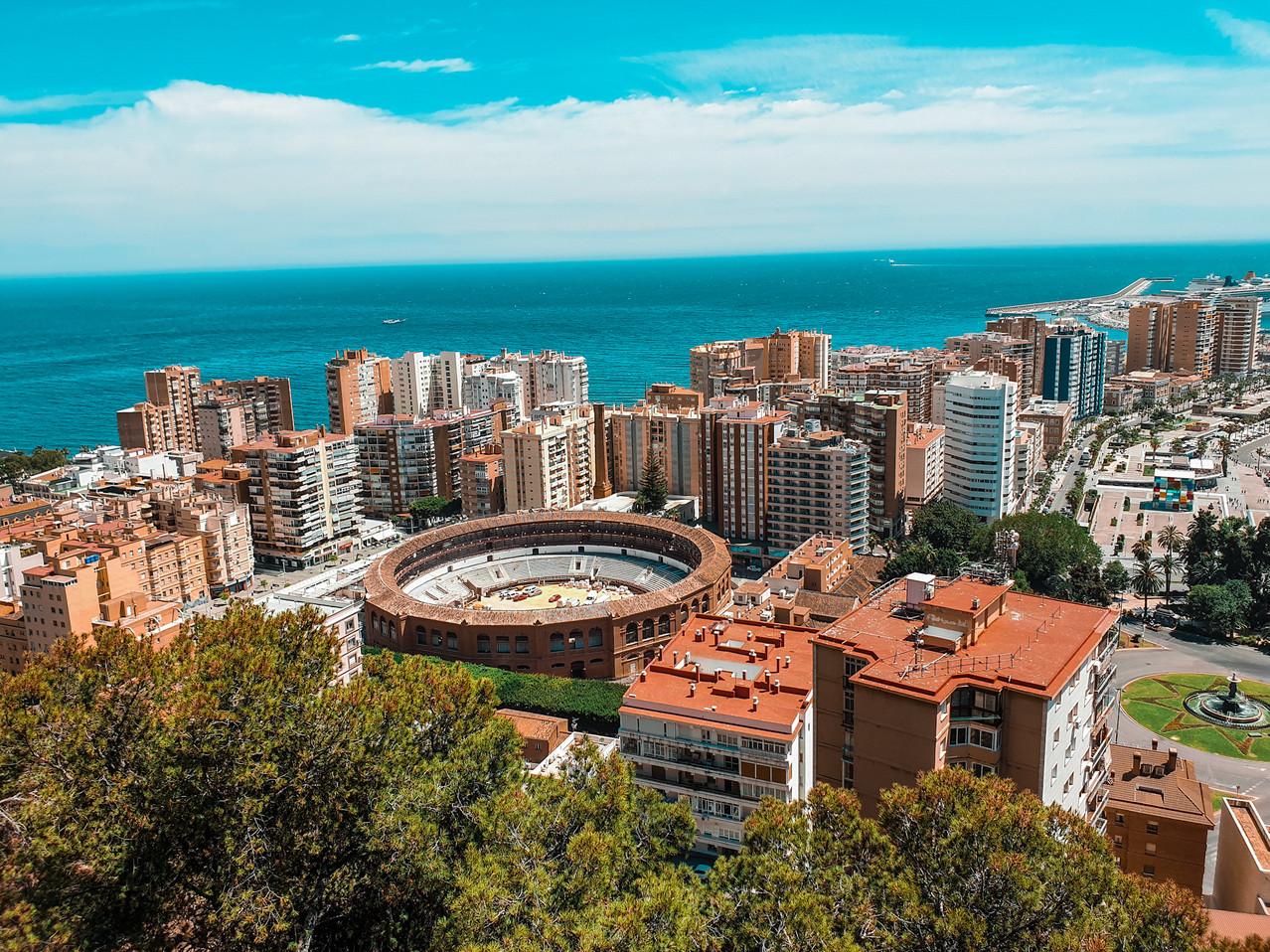 Gibralfaro Malaga View over Placa de Toro Olivia Libi