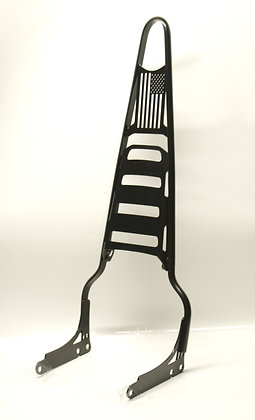"""24"""" Sissy Bar with fold down rack and flag gusset (Harley Sportster)"""