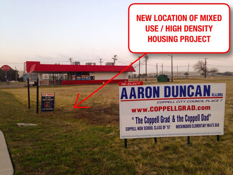 Coppell's First Mixed Use / High Density Housing Project