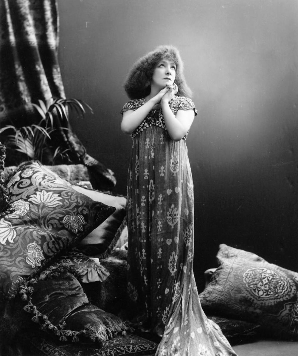French shining star of theater Sarah Bernhard, the muse of Alphonse Mucha