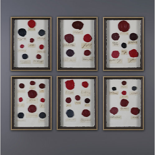 Set Of 6 Small Frames With Wax Seals