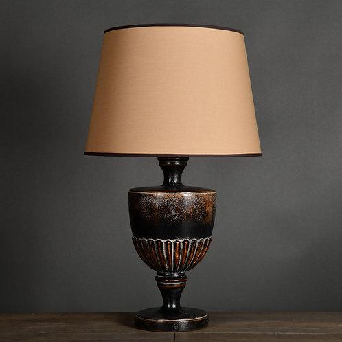 Brown Sculpted Vase Lamp