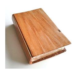 carved oak book with balsa fuzz flocking
