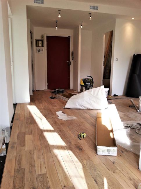 Paris 11, en cours réhabilitation appartement, parquet massif, faux plafond et peinture