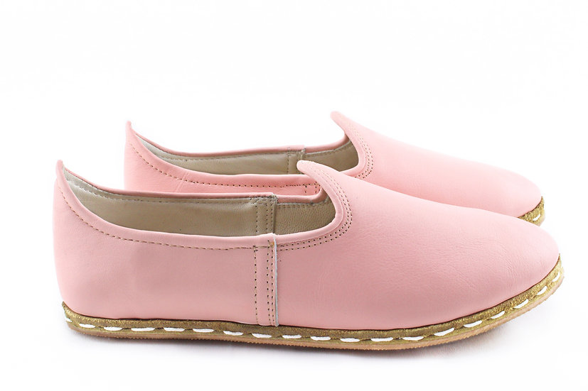 cotton candy handmade leather shoes for women side view