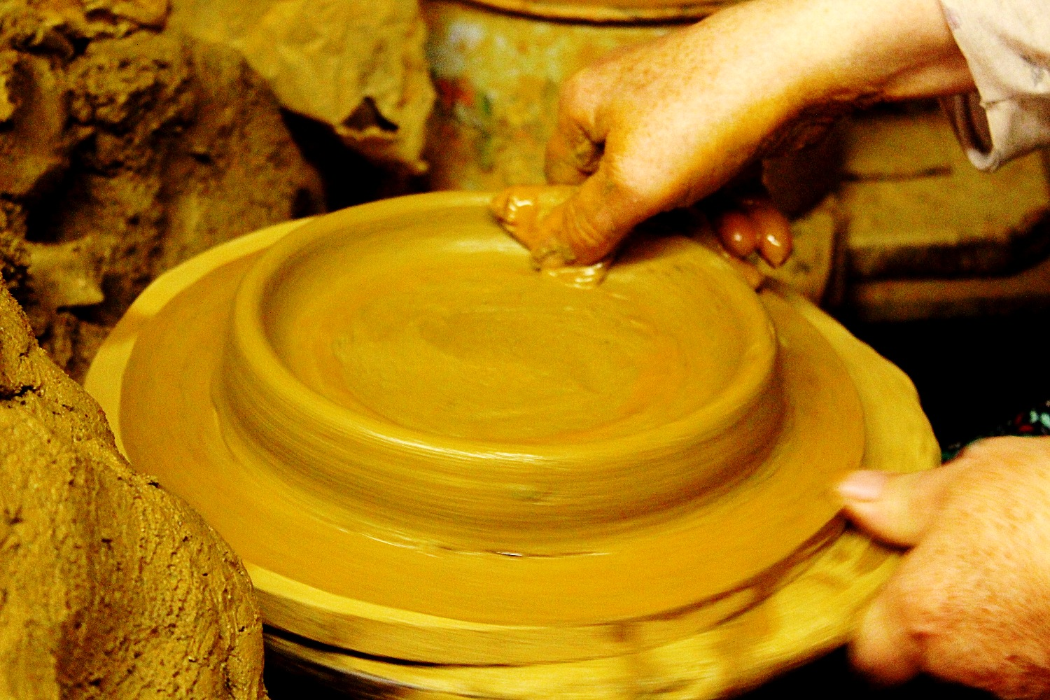 handmade clay pan