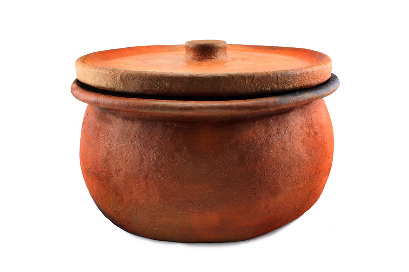 handmade clay pot front view