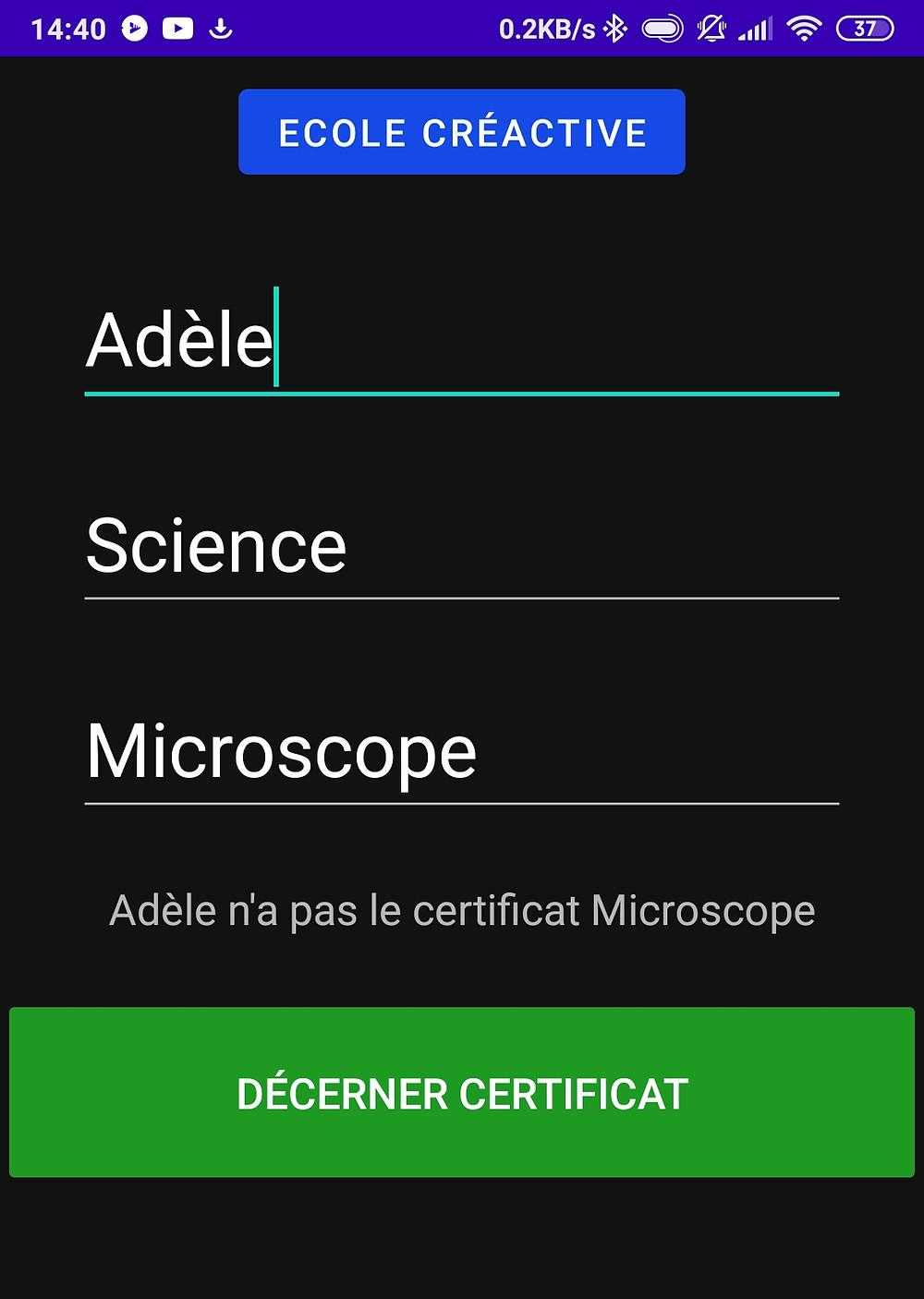 application gestion certificats