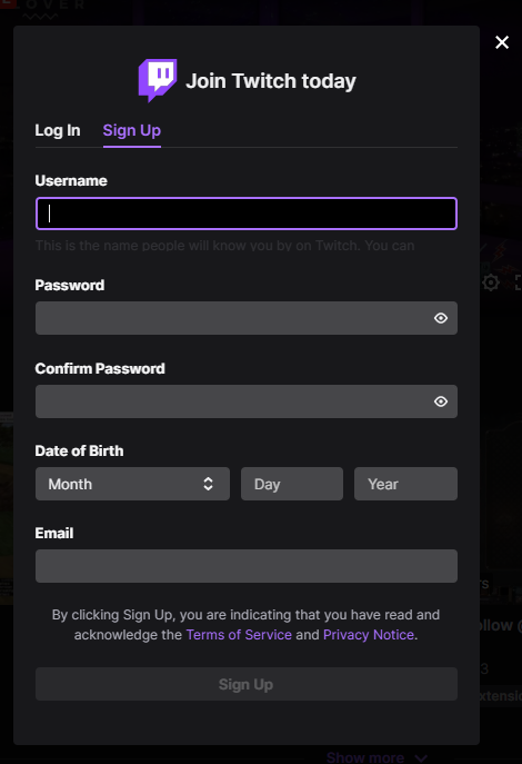 Twitch sign up form
