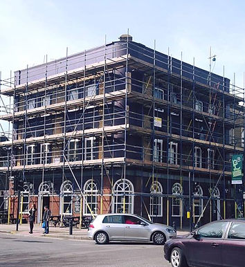 cmmercial scaffolding, fully boarded scaffolding, pavement license