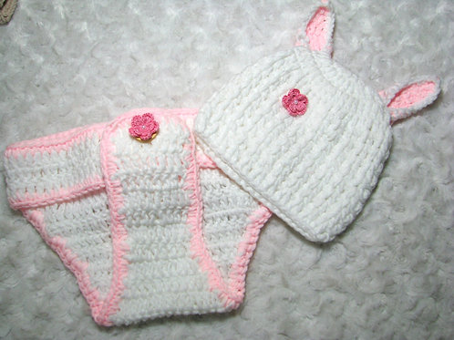 2 piece White and Pink Crocheted Bunny Set