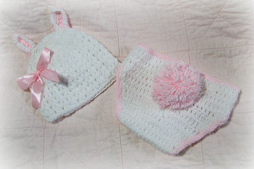 2 piece White & Pink Crocheted Bunny Set