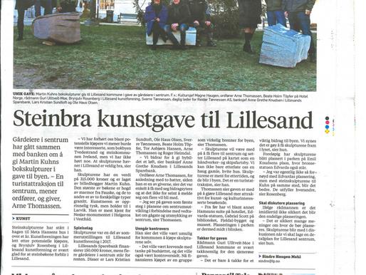 """""""Steinbra kunstgave til Lillesand"""""""