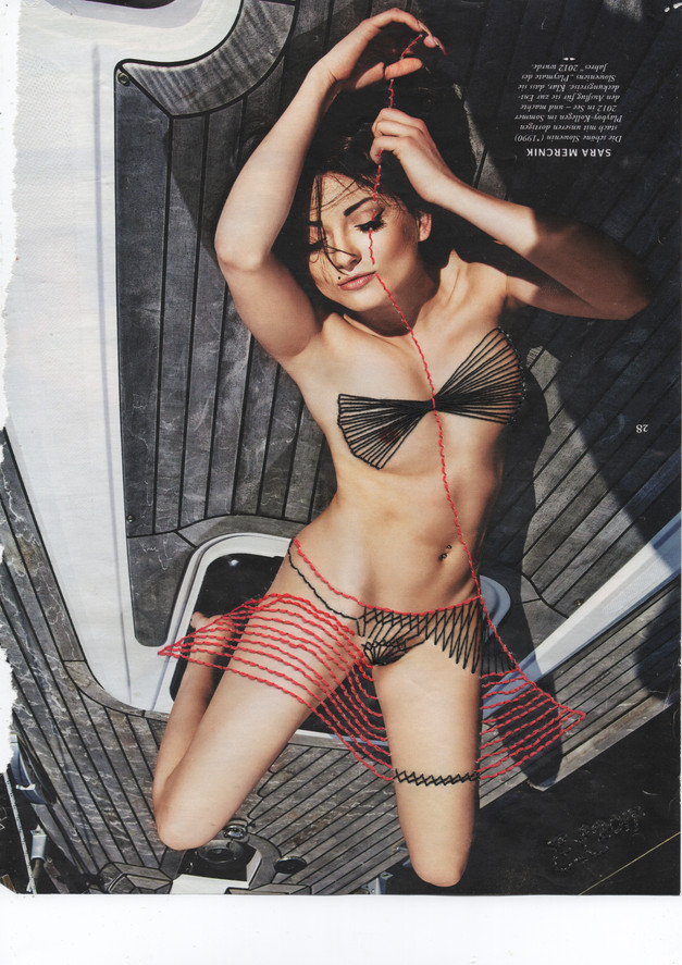Embroidery on Page 28, Sara Merchink (Playboy Girls of 2013), production 2017