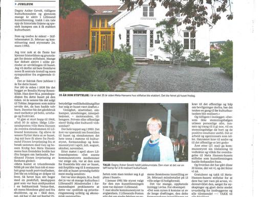 """Stiftelsen Meta Hansen feiret sitt 35-årsjubileum"""