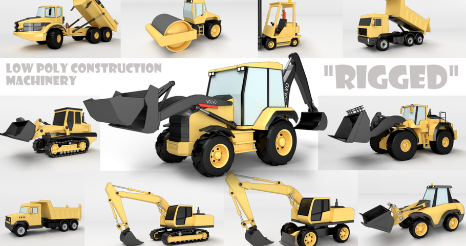 Low Poly construction machinery