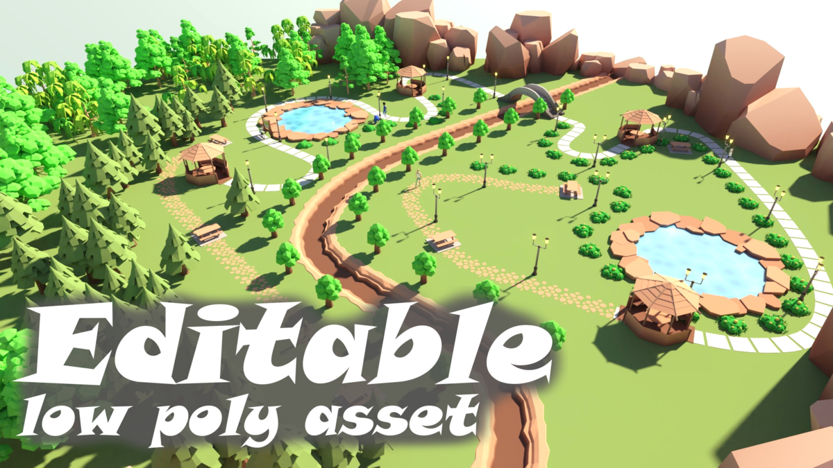 Editable low poly asset