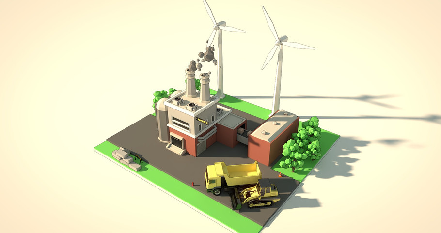 Editable low poly factory