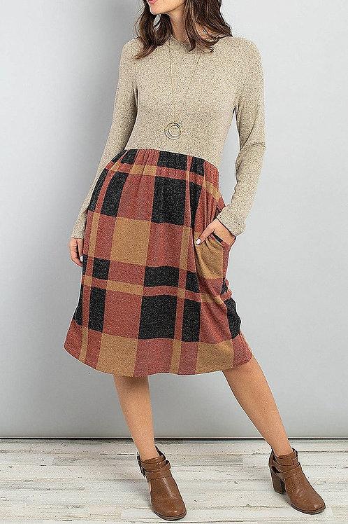 Maroon Plaid Sweater Dress