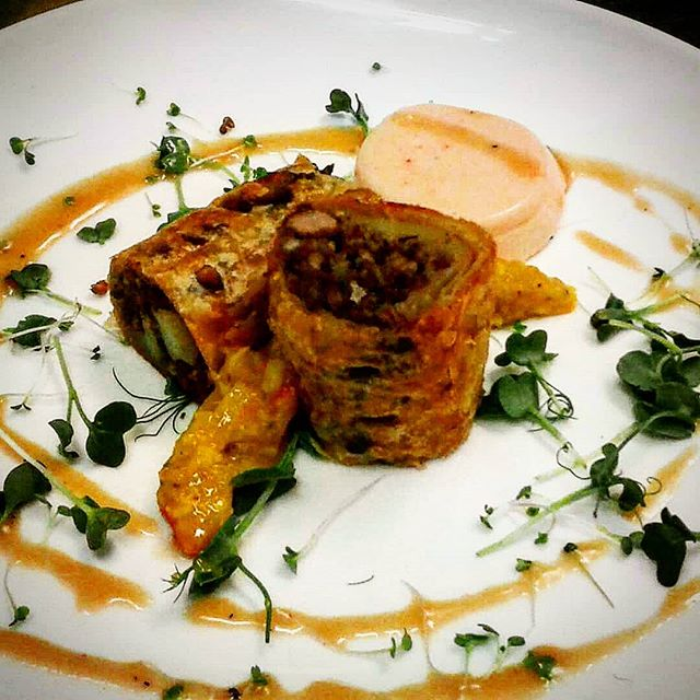Regrann from _chefguitar3 -  Tourtiere strudel with Roasted pepper Panna cotta, mustard pickle and M