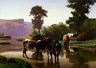 Auguste Bonheur, Du bétail par un lac, 1862