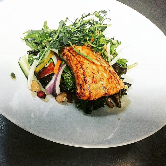Regrann from _closetsandpantry -  Come try our miso glazed salmon salad at lunch for taste of Burlin