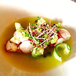 Spicy _boyle_bros_market_garden microgreens on 'Drunken Ceviche,' raw seabass marinated in mescal ti
