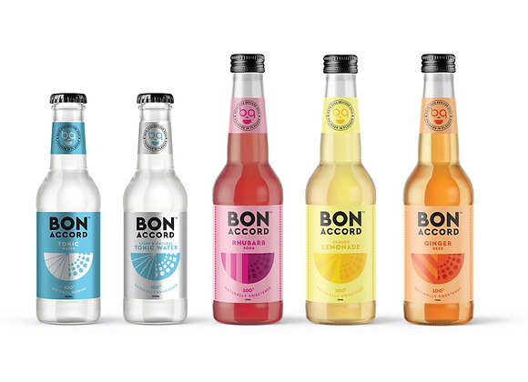 Full line up of Bon Accord Soft Drinks