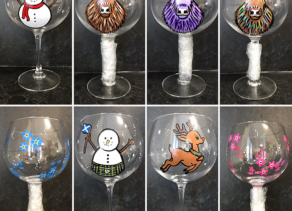 Collage of Hand Painted Copa Glasses