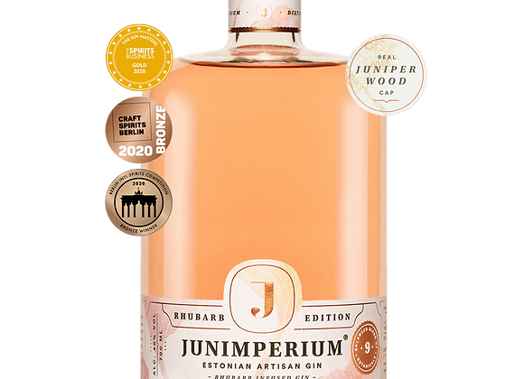 Junimperium Rhubarb Gin with awards stickers