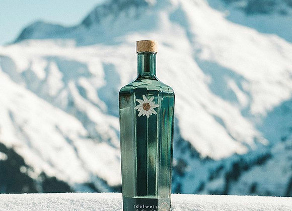 Edelweiss Alpine Vodka in the snowy alps