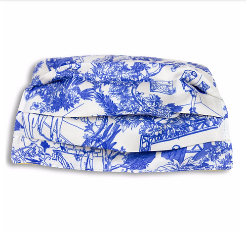 Máscara em seda, Toile de Jouy azul, Maison Malfroy