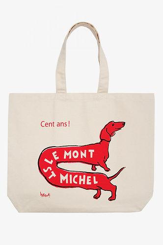 saco de compras, cão vermelho