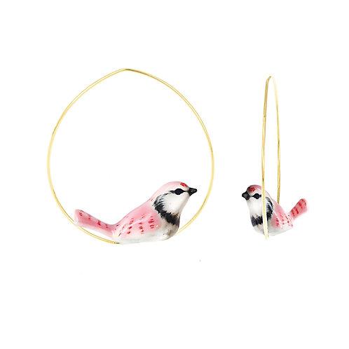 Brincos Pássaros rosa