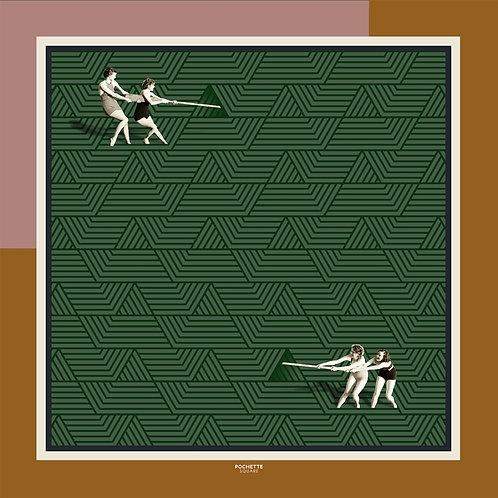 """Lenço de seda """"TUG OF WAR"""" 50x50"""