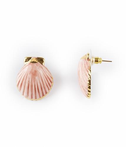 Brincos Coquillage rosa-ouro