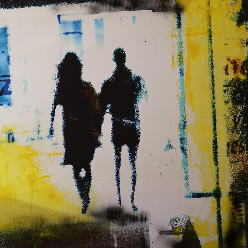 Paar im Gegenlicht, 100x100 cm auf Leinwand