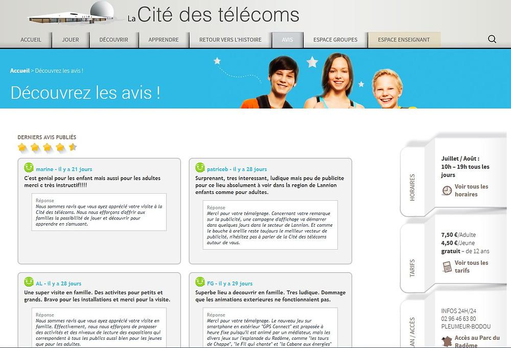 Avis visiteurs cité des télécoms widget Civiliz