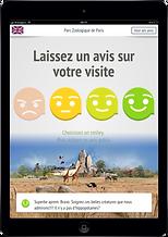 Tablette, borne, site recueil avis visiteurs