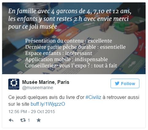 Tweet d'un avis Civiliz par le musée de la Marine