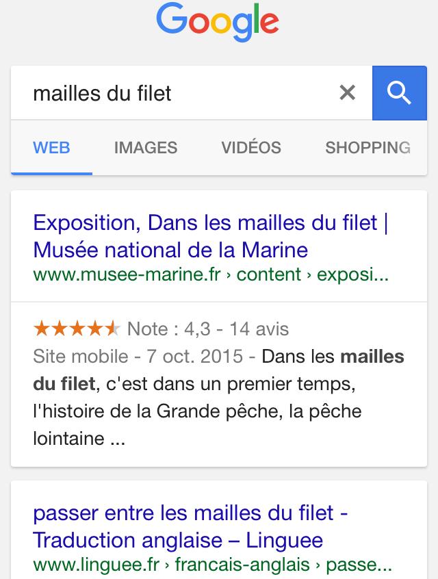 """résultats recherche """"mailles du filet"""" google"""