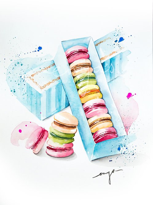 An original painting – The macaron box